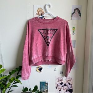 Guess sparkly logo cropped crewneck